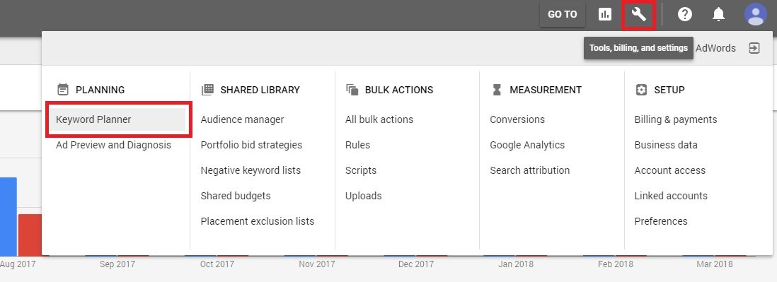 How to find keywords for SEO - Loging into Keyword Planner